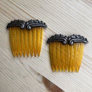 Vintage hair combs with sterling silver